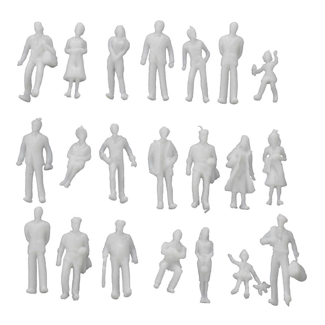 100 sztuk model pociągu ludzie figurki skala HO TT (1 do 100), różne style, świetne kolekcje-jasnoszary