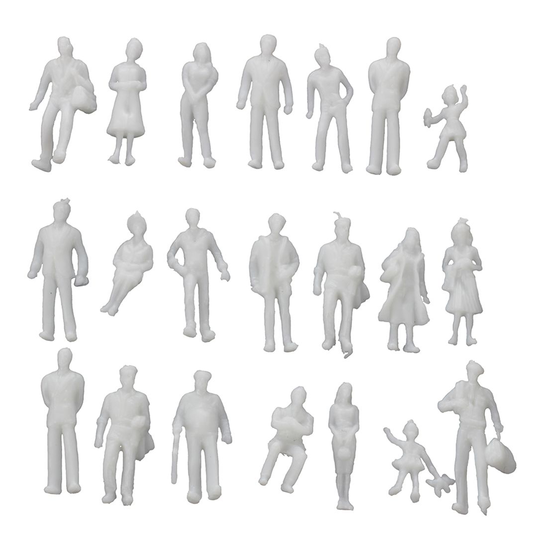100Pcs Model Train People Figures Scale HO TT (1 To 100), Assorted Style, Great Collectibles--Light Grey