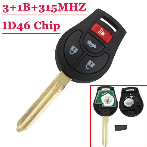 Free shipping 3+1 button New Replacement Remote Headed Key Keyless Entry Ignition Car Fob Uncut for N-issan (1piece) new carburetor for n issan z20 gazelle silvia datsun pick up ca
