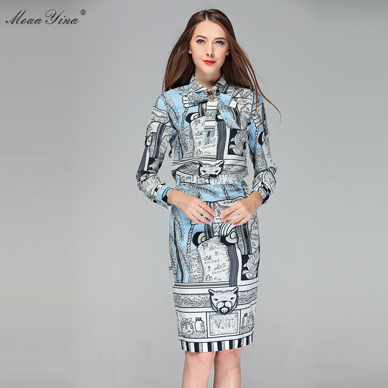 MoaaYina Fashion Designer Set Summer Women Long sleeve Print Bowknot Casual Holiday Career Tops+Slim Half skirt Two-piece suit все цены