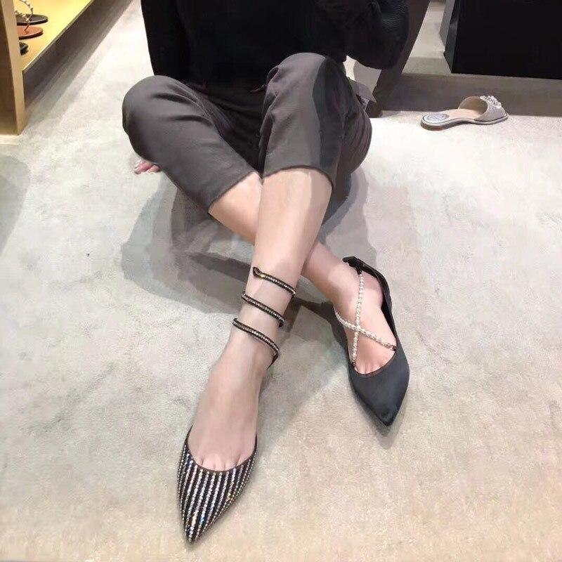 2018 Noir Mode Marque Sandales Femmes Bijou Embelli Appartements Femme Serpent Cristal Ete Bout Pointu Luxe Chaussures De eDHIYbE29W