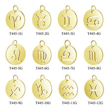 5pcs/lot 316L Stainless Steel Silver Gold Rose 12 Zodiac Charm Round Circle Coin Disc Signs Constellation Pendant Crafts