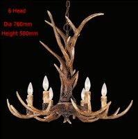 Europe Country 6 Head Chandelier American Retro Lamps Fixture Resin Deer Horn Antler Lampshade Decoration