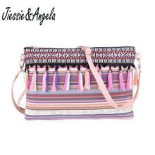 цена Jiessie&Angela New Designer Shoulder Bags Bolsa National Canvas Women Messenger Bags Crossbody Flap Tassel Bag Handbags онлайн в 2017 году