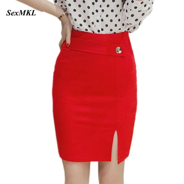 3d6815d2114 Plus Size Women Red Skirts 2017 Fashion Elegant Sexy OL Mini Skirt Black  Slim Office Lady Elastic Formal High Waist Pencil Skirt