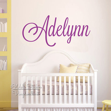 цена на Custom Name Wall Sticker Baby Nursery Name Wall Decal Kids Room Cut Vinyl Stickers Personalized Girls Children Name C74