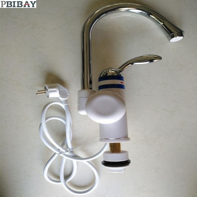 W818-6,3000W Instant Hot Water Faucet,Electric Instant Water Heater,Tap Kitchen Electric Hot Water Tap,Heating Faucet EU Plug