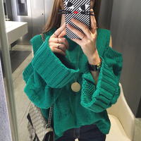 Off Shoulder Solid Loose Women Sweater O neck Long Sleeve Pullovers 2018 New Knitted Korean Fashion Sueter Mujer C654