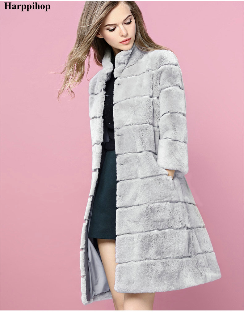100cm 6XL Plus size 2017 real natural rex rabbit hair fur coat colors womens long design ...