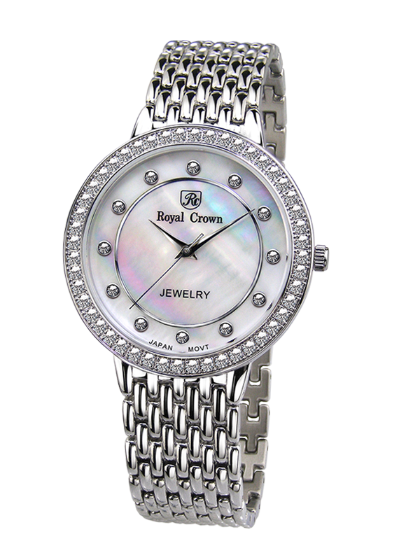 Royal Crown Jewelry Watch 3650MS Italy brand Diamond Japan MIYOTA platinum Pearl Jewelry Stainless Steel Bracelet Rhinestone royal crown jewelry watch 3632 italy brand diamond japan miyota platinum dress colorful bracelet brass rhinestone
