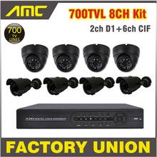CCTV Camera 700TVL Bullet Dome CCTV System 8ch Channel CCTV Kit Surveillance Security Camera CCTV System 8 Channel DVR Recorder