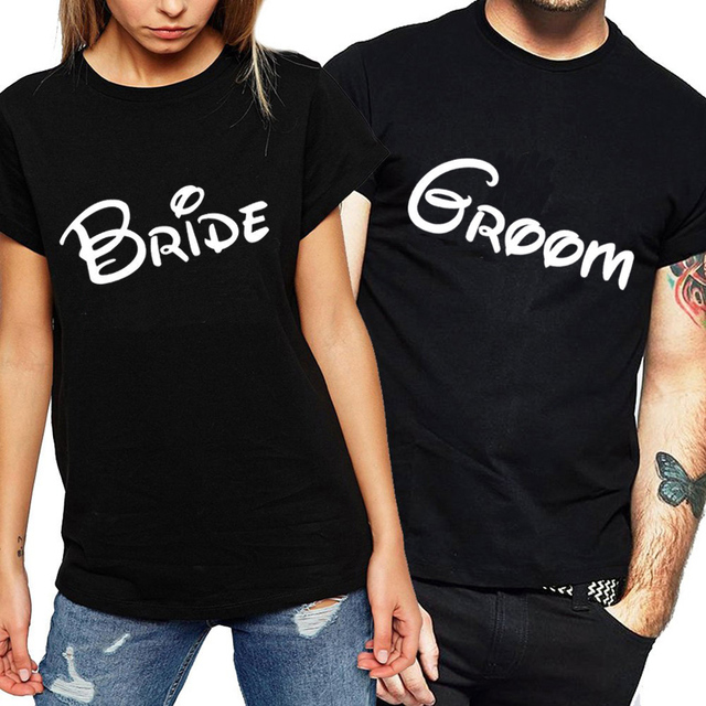 c6c67190e 100% T-shirt for Couple Lovers Women Men Design T-shirt Women Letter Print  Groom Bride Honeymoon T-shirt Wedding Couple T Shirt
