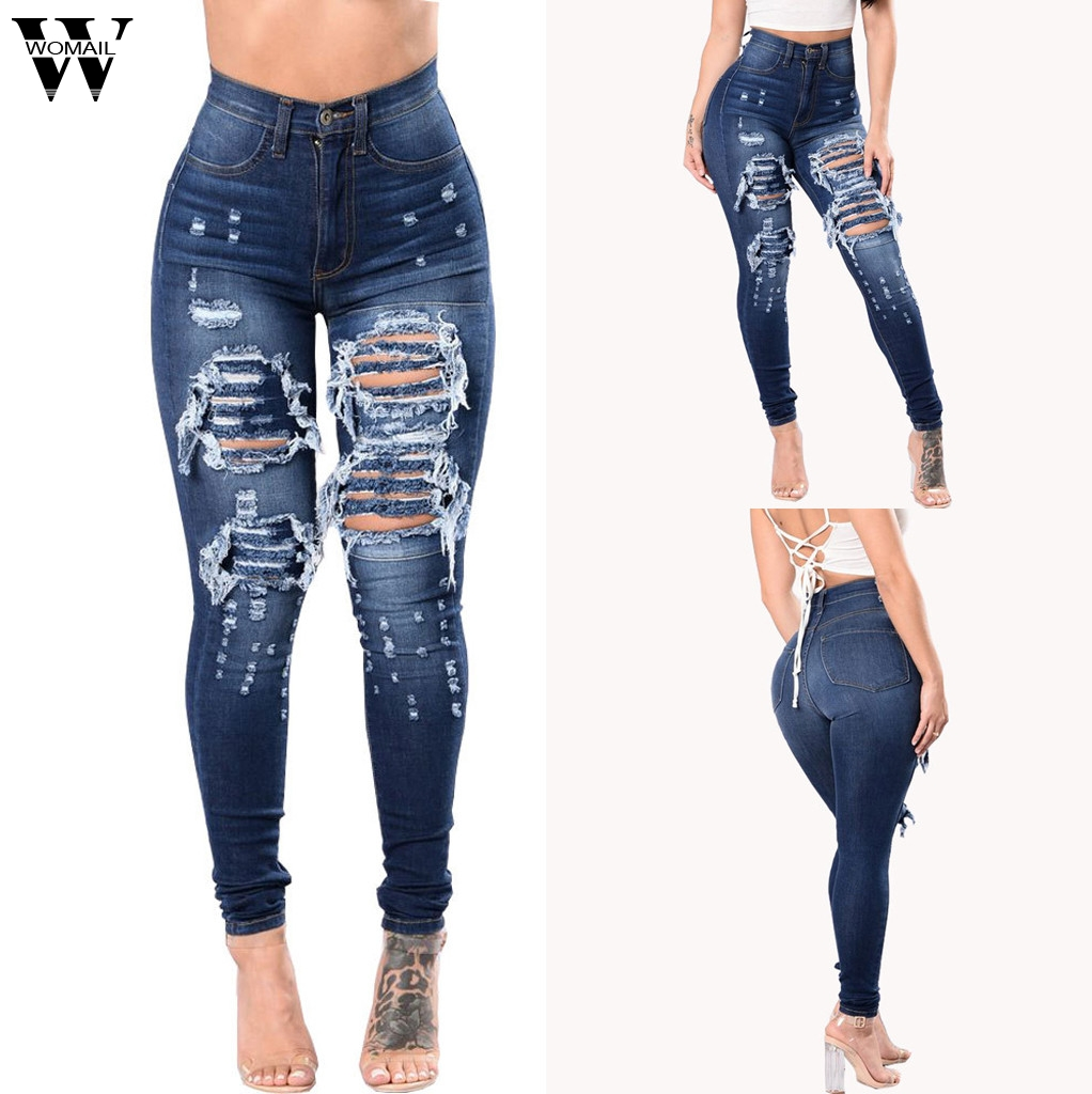 Womail jeans woman summer fashion High Waist Hollow Jeans Casual female washed denim skinny pencil Slim Jeans for Women 2019 M53