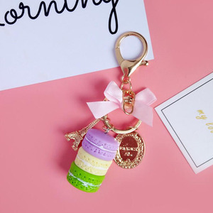 Image 4 - 10pcs/lot Girls Fashion Jewelry Keychains Macaroon Cake Model Pendant Key Ring Bags Ornament Keychain For Women Accessories