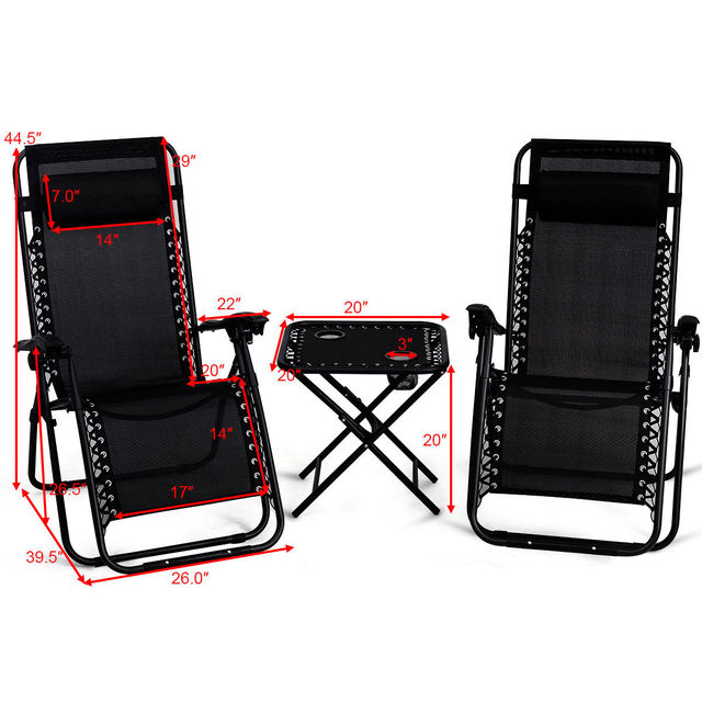 3PC Outdoor Zero Gravity Reclining Lounge Chairs w/ Table 3
