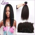Девы волос черный натуральный цвет может быть краситель грубый яки необработанные бразильского виргинские зажим для волос в наращивание волос человека 120 г/компл.
