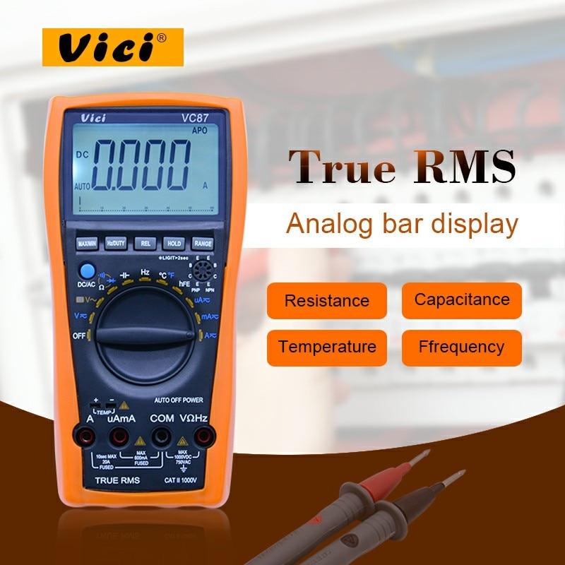 VICI VC87 Vero RMS Multimetro Digitale Auto/gamma manuale DCV ACV DCA ACA DMM Frequenza Capacità di Temperatura e hFE tester