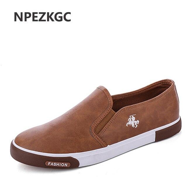 NPEZKGC Baixo preço Novo da chegada Dos Homens Respirável de Alta Qualidade Sapatos Casuais PU Couro Casual Slip On Shoes men Moda Flats loafer