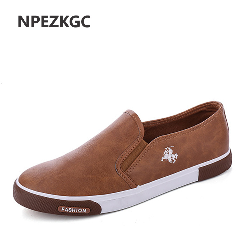 цены NPEZKGC New arrival Low price Mens Breathable High Quality Casual Shoes PU Leather Casual Shoes Slip On men Fashion Flats Loafer