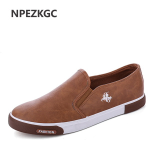 Image 1 - NPEZKGC New arrival Low price Mens Breathable High Quality Casual Shoes PU Leather Casual Shoes Slip On men Fashion Flats Loafer