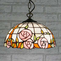 12inch European Style Tiffany Color Glass Warm Romantic Rose Pendant Light Bedroom Bedroom Dining Room