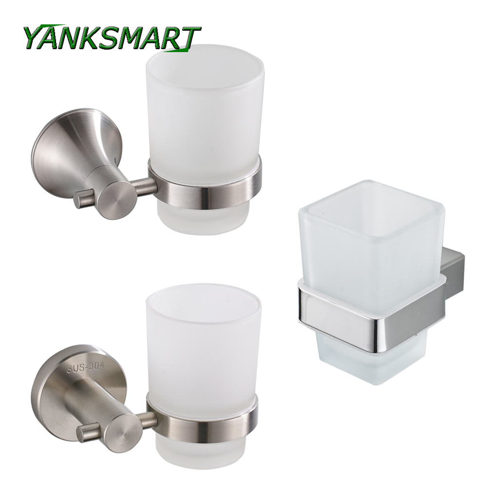 YANKSMART Chrome Finish Nickel Brush Stainless Steel Wall Mounted Bathroom Toothbrush Holder Rack Shelf image
