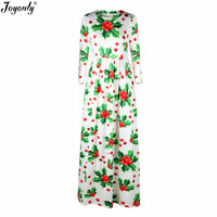 Joyonly 2018 Christmas Women O Neck Long Sleeve Maxi White Dress Vintage Lovely Cherry Flower Green Weed Print Dresses Vestidos