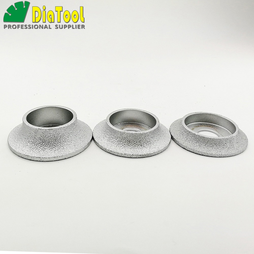 DIATOOL Diameter 3 Inches/75mm Grinding Disc Vacuum Brazed Grinding Wheel Demi-bullnose Edge Profile