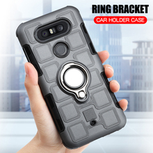 Cover For LG Q8 (5.2 inch) Silicone Shockproof Phone Case H970 Luxury Armor Anti-Fall Back Ring Stand Hard