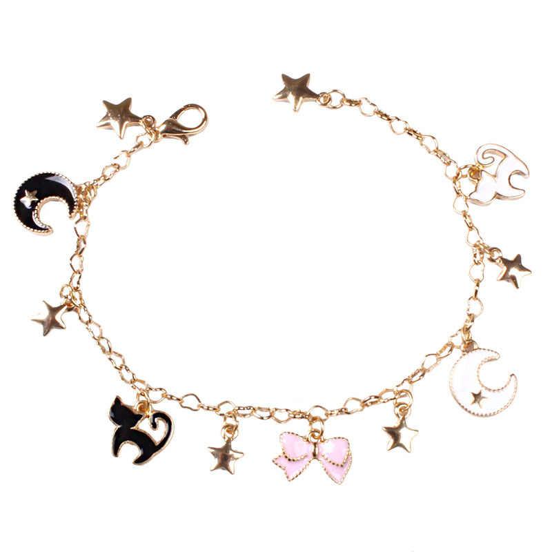 Японские Сейлор Мун Звезды Луна бант Ангел браслеты с крыльями милые черные кошки розовый Сакура браслет с шармами цветами для детей женщин