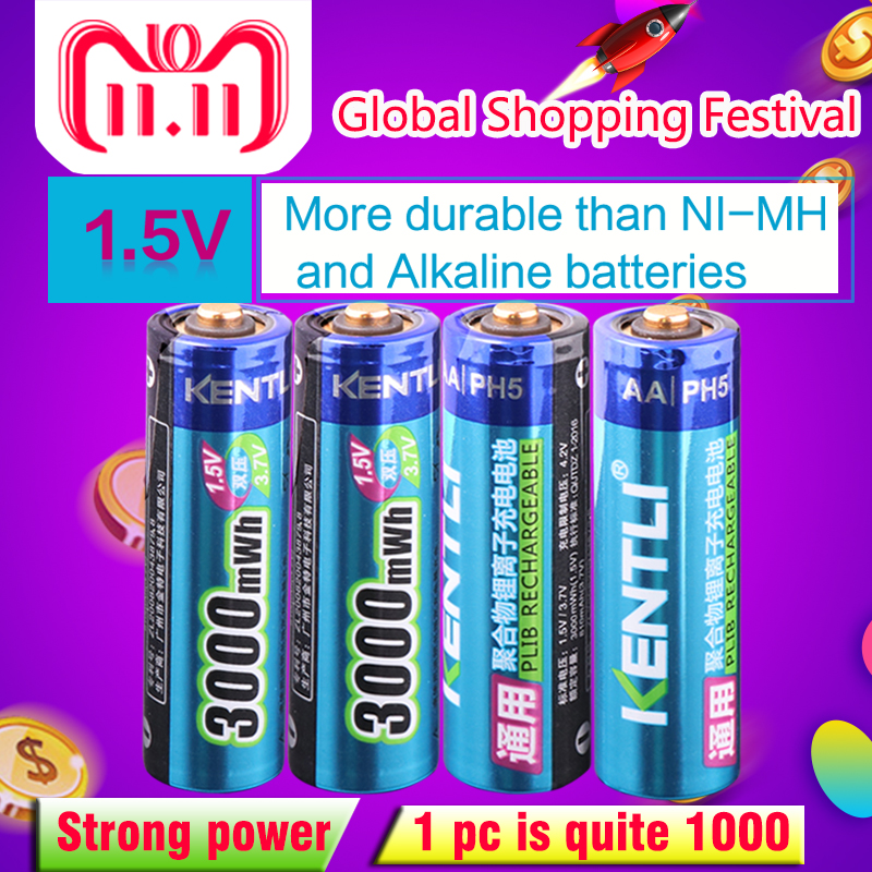 4pcs/lot Stable voltage 3000mWh AA batteries 1.5V rechargeable battery lithium polymer battery for camera ect kentli 8pcs stable voltage 3000mwh aa batteries 1 5v rechargeable aa battery lithium polymer battery for camera ect