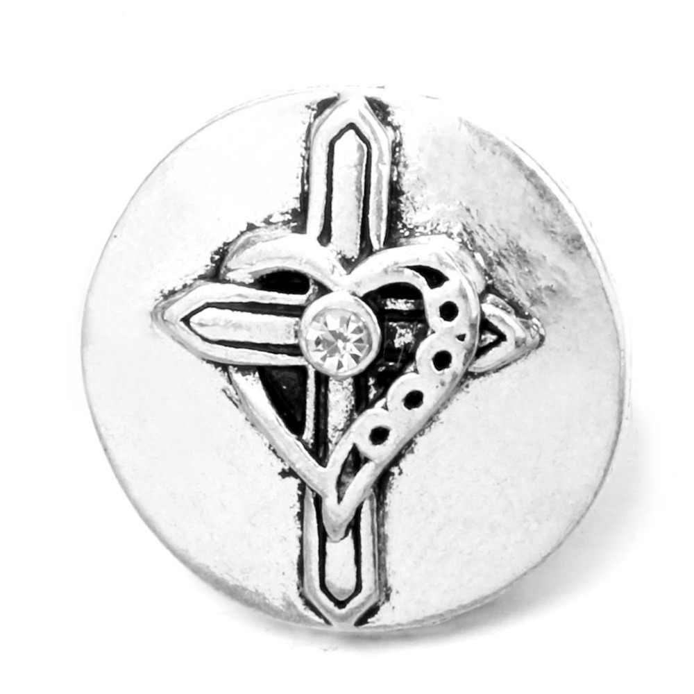 Botón a presión de Metal de alta calidad de 18mm, botón de la Esperanza, joyería TZ0055