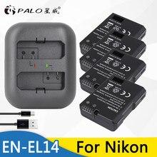 Аккумуляторная батарея Palo 4 шт., цифровой аккумулятор и двойное зарядное устройство USB для Nikon D90, D300, D5300, COOLPIX P7100, P7200