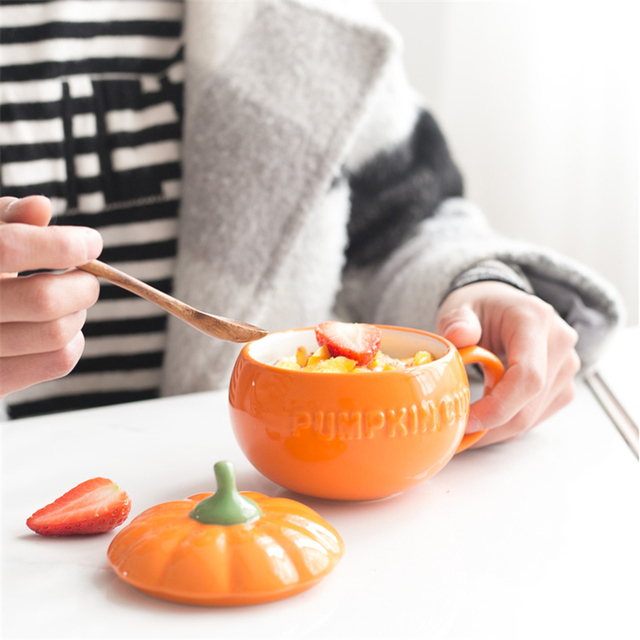 Beautiful Halloween Pumpkin Cup and Cover 250ml 1