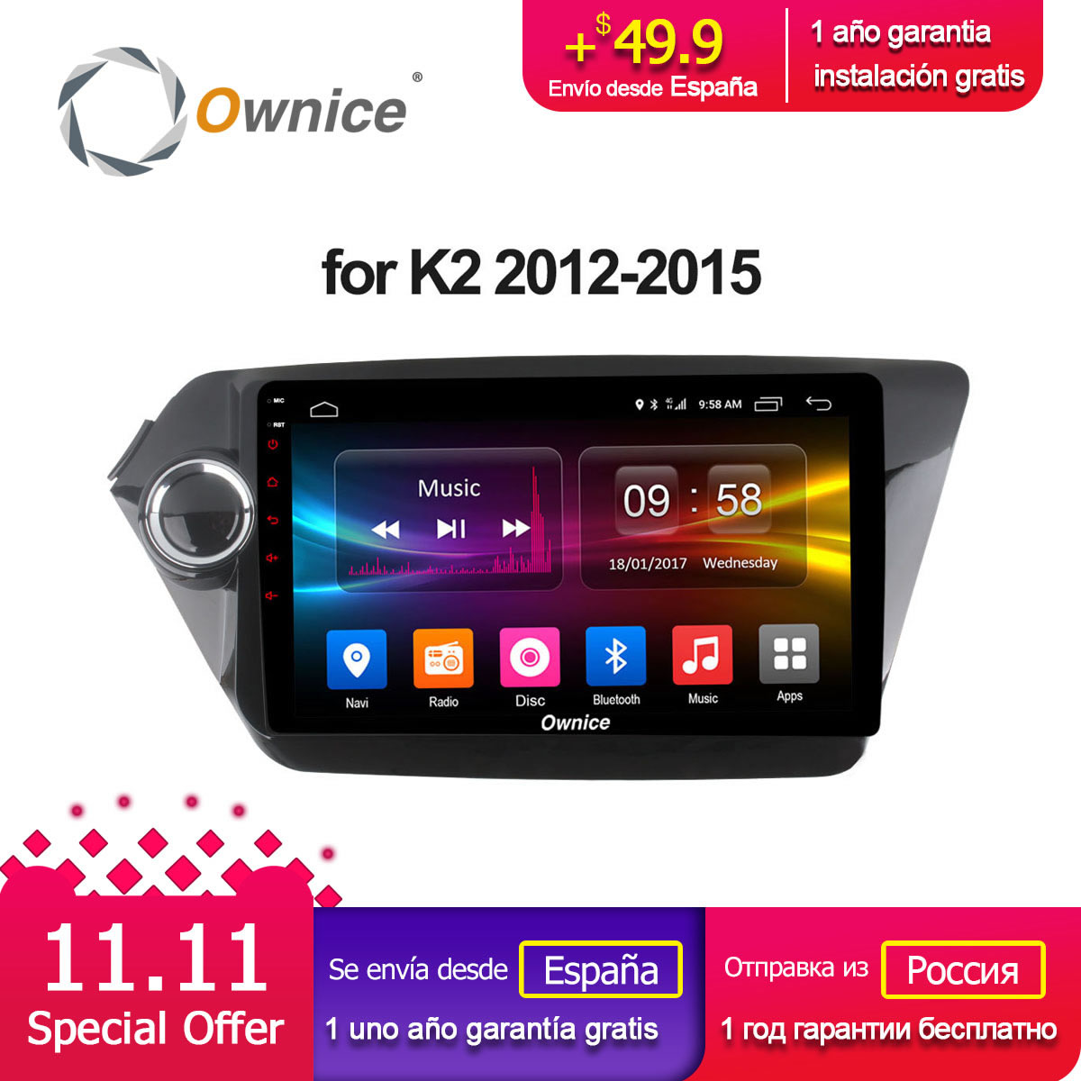 Ownice C500+ G10 Octa 8 core Android 8.1 Car radio gps player 2GB RAM 32GB ROM for Kia rio k2 2012 2013 2014 2015 support 4G LTE цены онлайн
