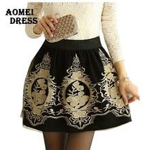 Black Grunge faldas Skirts Embroidery Vintage women S XXL 2016 Retro female Mini tulle skirt office work wear bottoms Skort