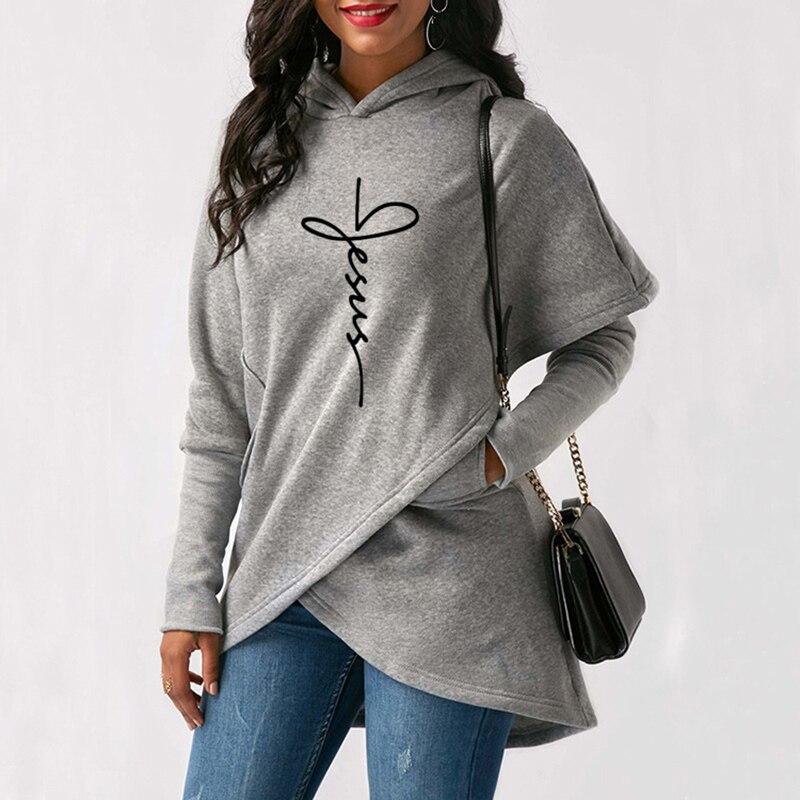 2020 sonbahar kış kadın Hoodies tişörtü Casual Tops İsa İnanç baskı svetşört sıcak noel Kawaii kazak 5XL 5
