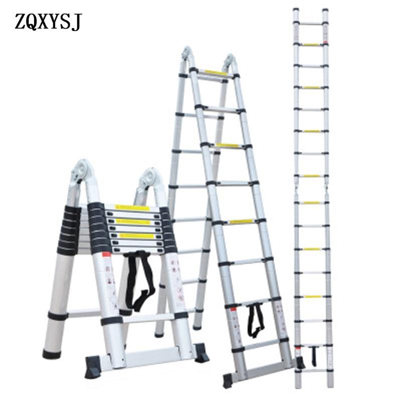Multifunctional Telescopic Ladder Aluminum Alloy Telescopic Ladder Household Herringbone Portable Aluminum Ladder Stair FT