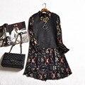 Женщины Весна Dress 2017 Мода Черный Замши Лоскутное Цветочный Принт Линия Платья Элегантный Тонкий Плюс Размер С Длинным Рукавом Dress