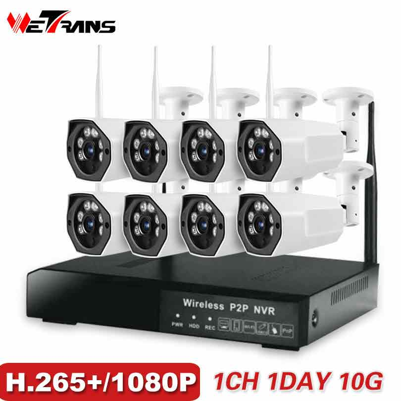 CCTV Surveillance Camera System H265+ Wireless 1080P HD 200m Transmission Waterproof IP Security Wi-fi Kit Video Surveillance