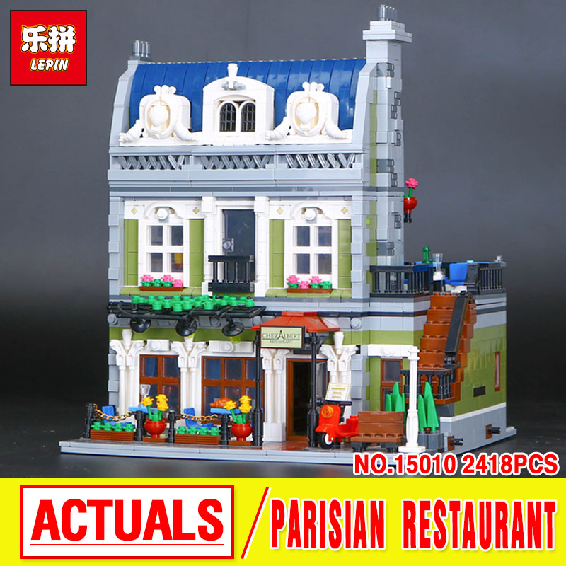 LEPIN 15010 City Street  Parisian Restaurant Model Building Kit  Assembling Blocks Bricks Toy 10243 Educational  Funny Gift lepin 15009 city street pet shop model building kid blocks bricks assembling toys compatible 10218 educational toy funny gift
