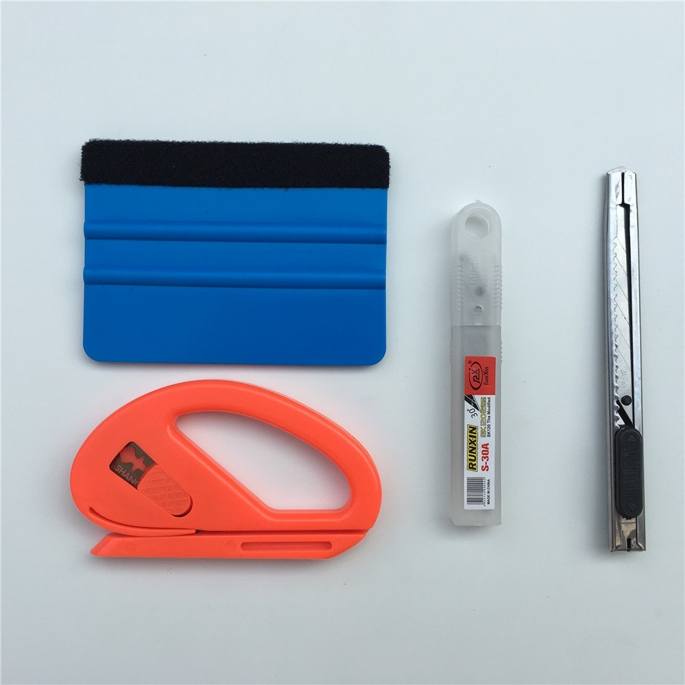4pcs/lot Car Vinyl Wrap Film Squeegee Scraper Tools Vehicle Sticker Installation Kit Cutter Knife Car Styling Auto Accessories