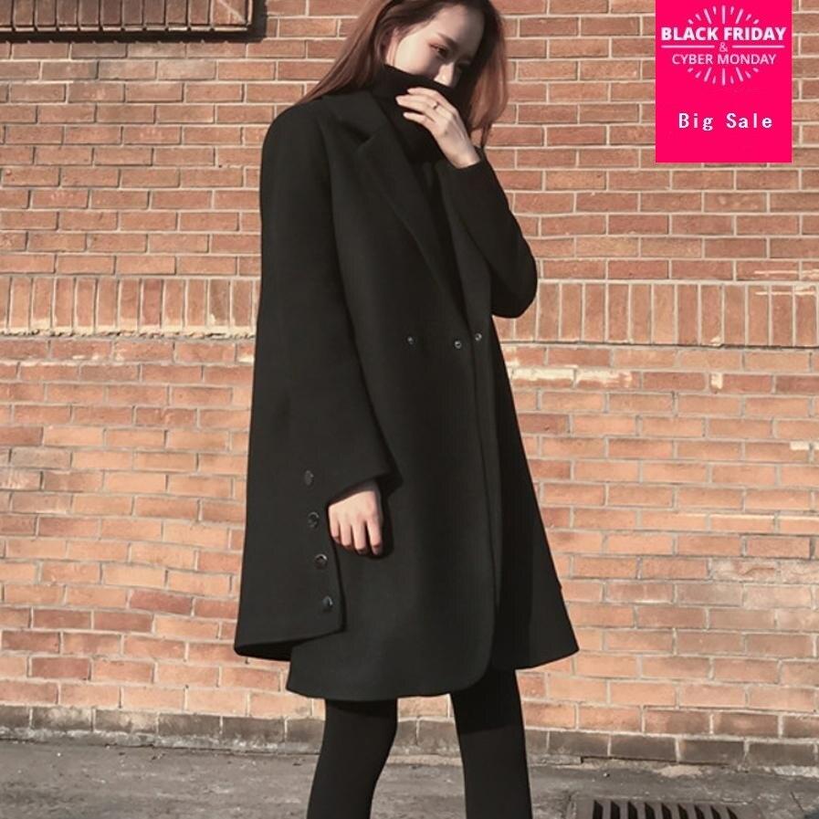 Winter women's Cloak woolen coat Side split button design cotton woolen Windbreaker overcoat female black loose outerwear L1597