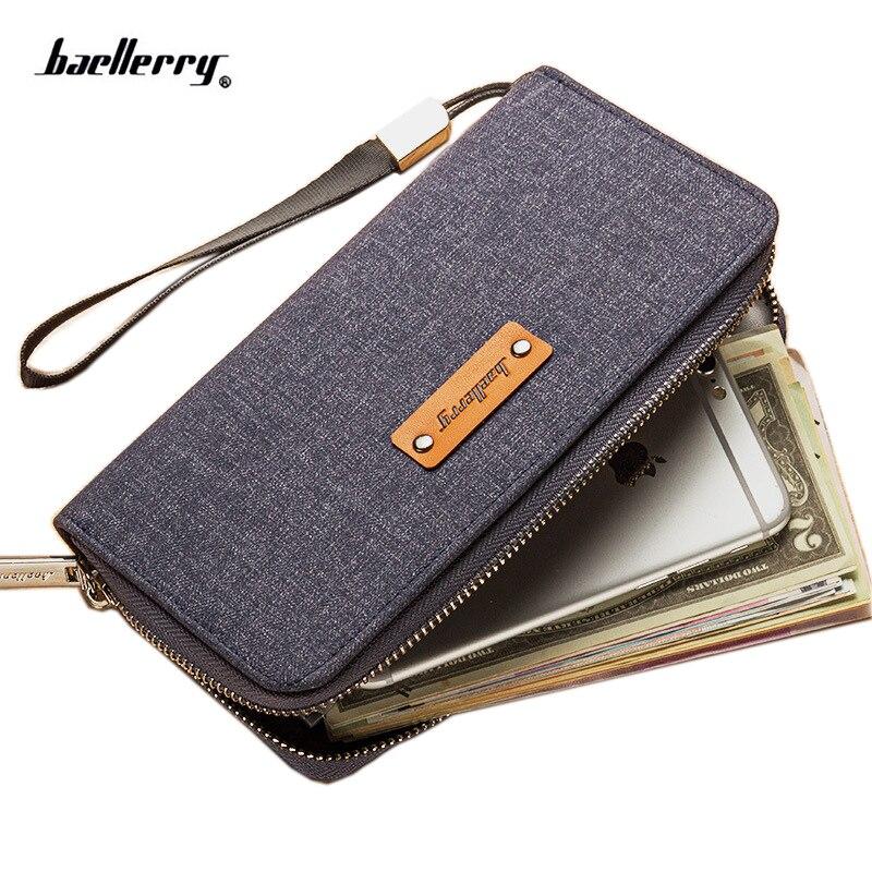 Zipper Long Phone Clutch Men Wallet  Canvas Wallet For Male  Guarantee Purse Coin Card Wallet