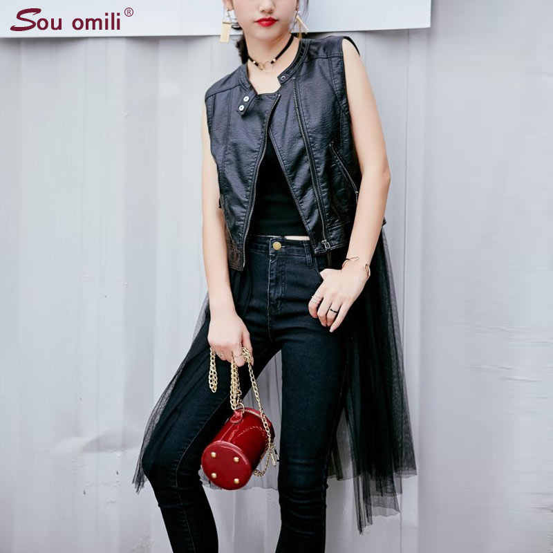 Long Mesh Yarn Dovetail Leather Vest PU Women Soft Vest Ladies tatical Leather Motorcycle Vest Pocket waistcoat colete WaistCoat