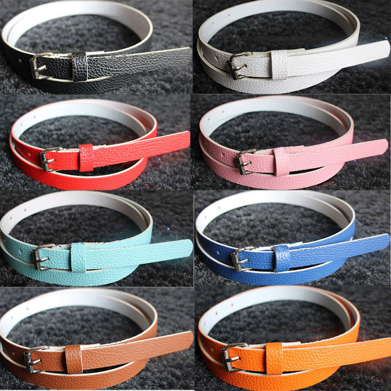 Multi-Color 1Pc Useful Faux Leather Thin Skinny Waist Belt Buckle Cloths Accessories For Women Lady