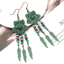 Antique Green Flower Boho India Ethnic Dangle Drop Earrings for Women Female 2018 Wedding Engagement Earrings Jewelry Accessory