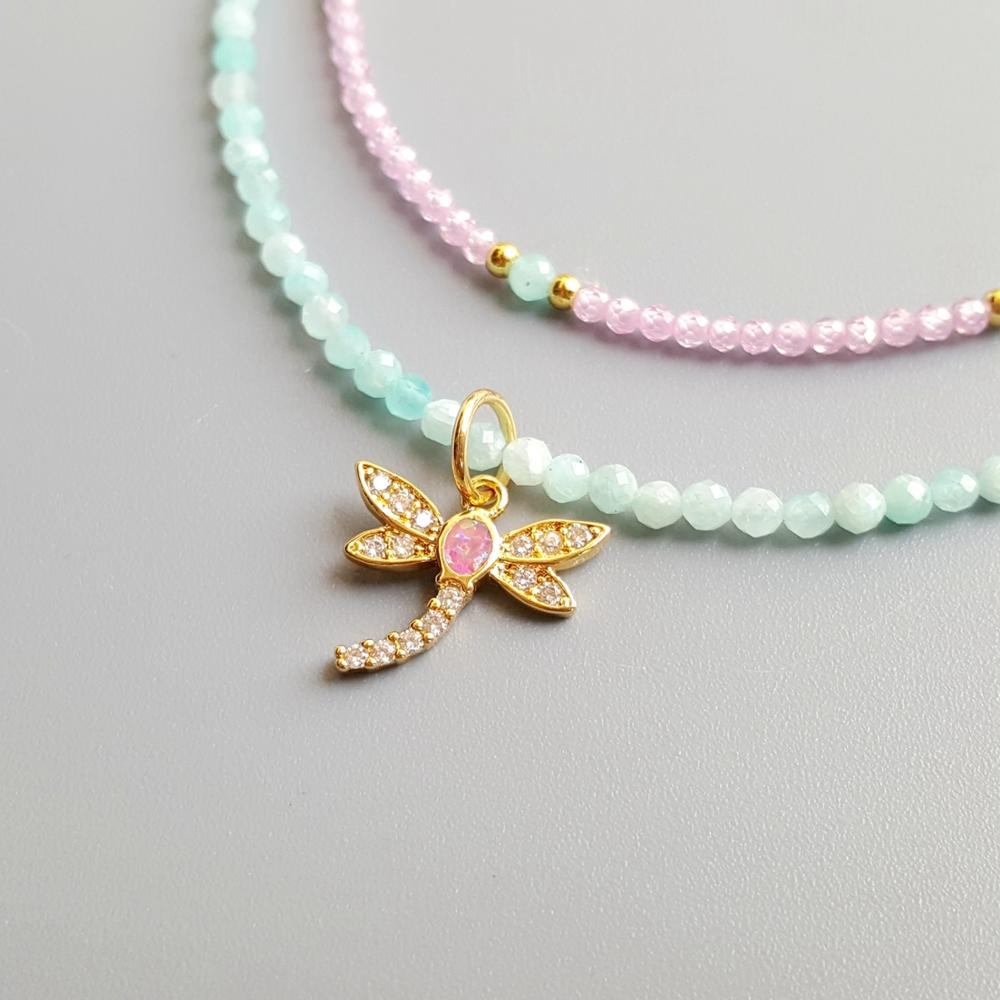 Lii Ji Genuine Amazonite Pink Zircon Lab-Created Opal Dragonfly Pendant Charms 2 Rows Delicated Handmade Necklace