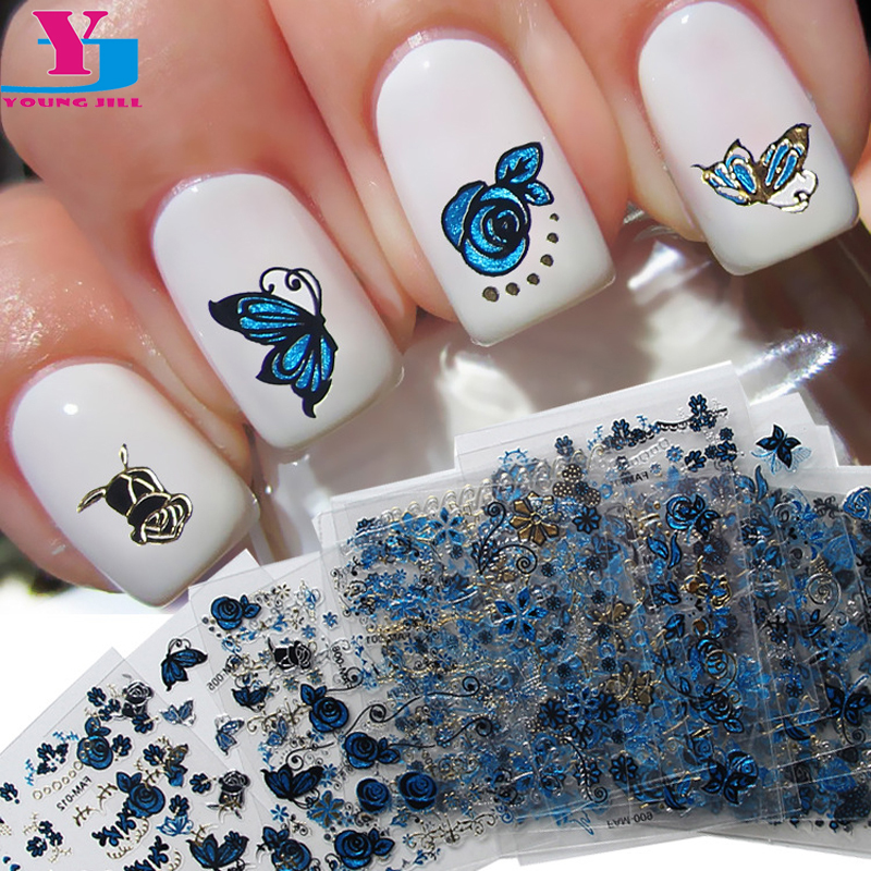 24Pcs Silver Gold Flower Butterfly 3D Nail Art Stickers