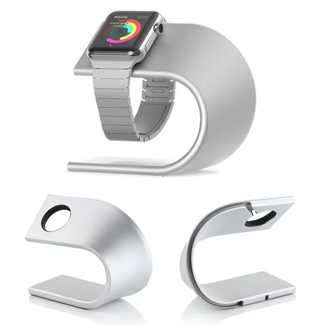 Black/Silver U Shape Aluminium Alloy Stand Docking Charger Station Holder for Apple Watch iWatch